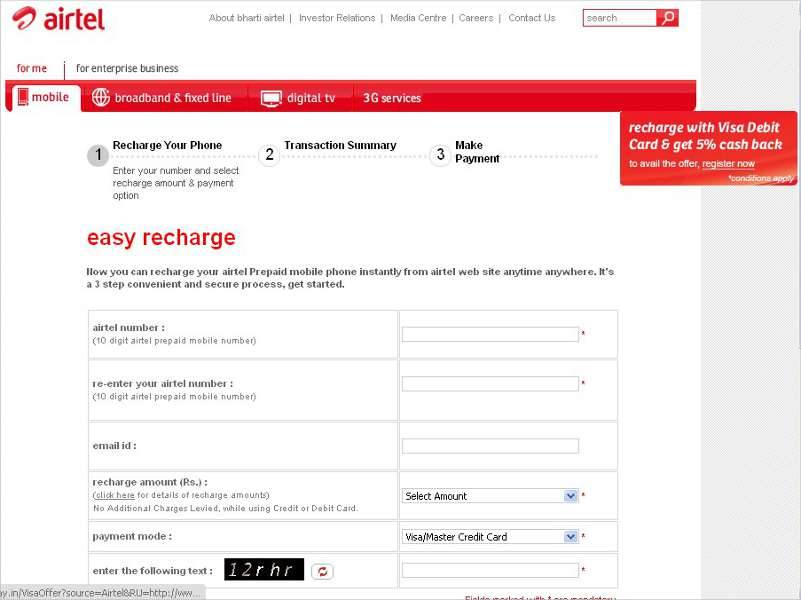 Airtel online prepaid recharge now available across India