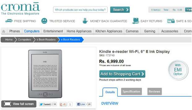 Amazon Kindle officially in India for Rs 6,999