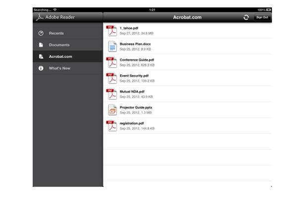 Adobe Reader for iOS, Android