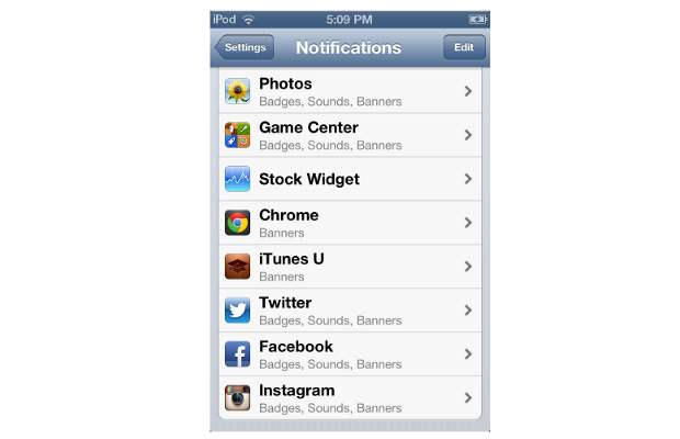 How to set notifications for apps on iOS 6