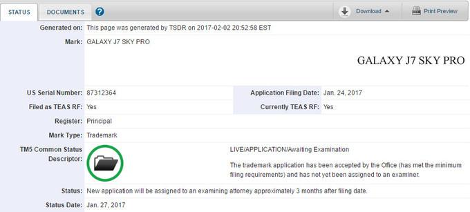 Samsung Galaxy J7 Sky Pro name trademarked