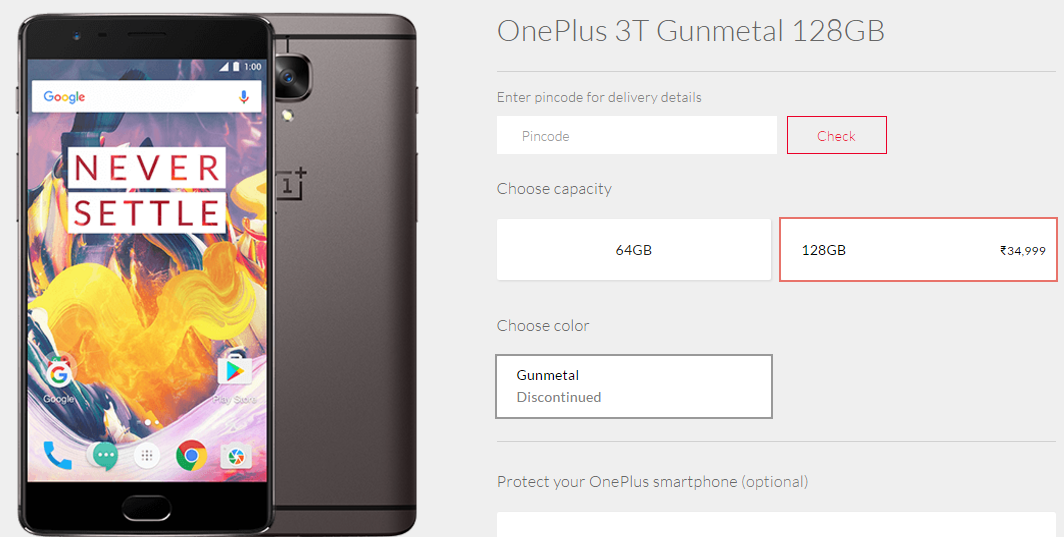 OnePlus Stops Sale of 128 GB variant of OnePlus 3T