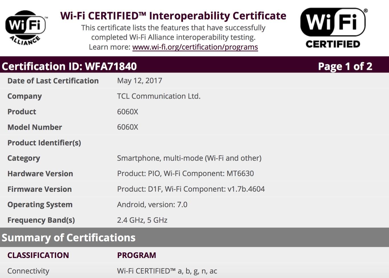 Alcatel Idol 5 receives Wi-Fi certification