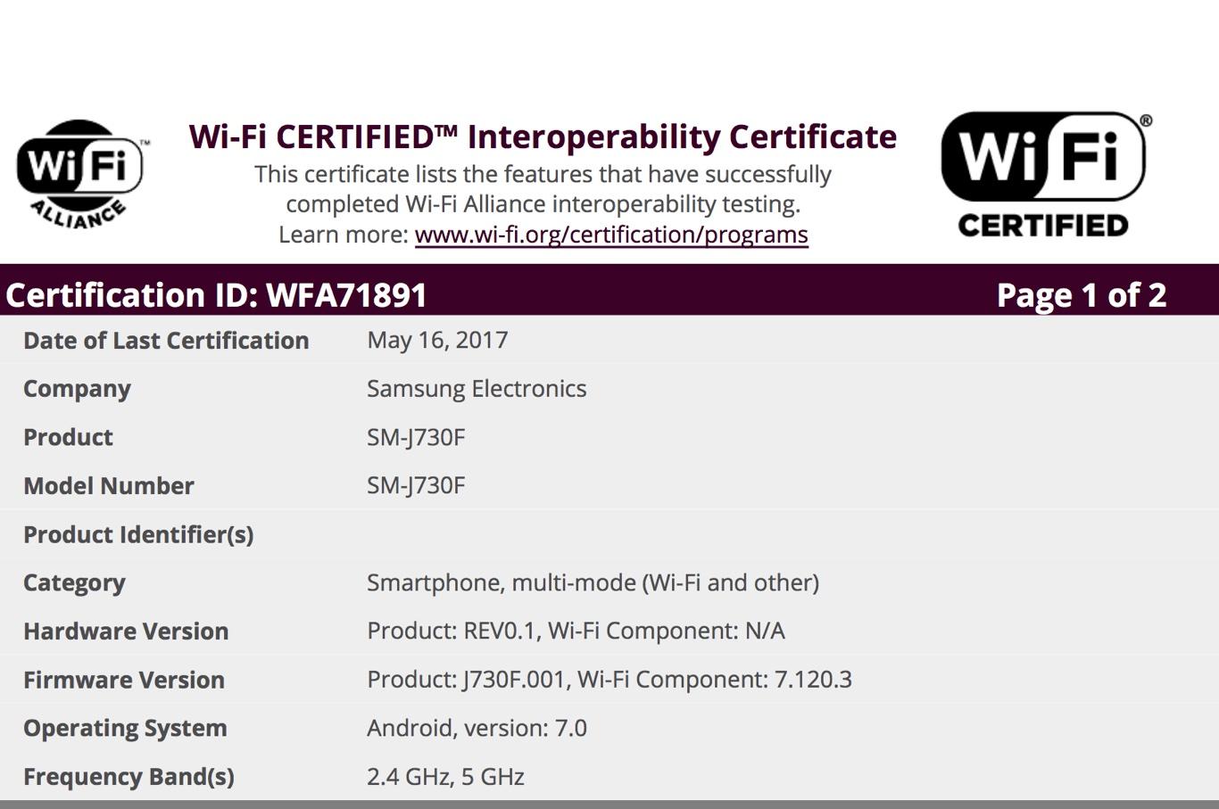 Samsung Galaxy J7 (2017) six models receive Wifi certification