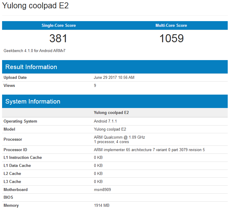 Coolpad E2 with Android Nougat spotted on GeekBench