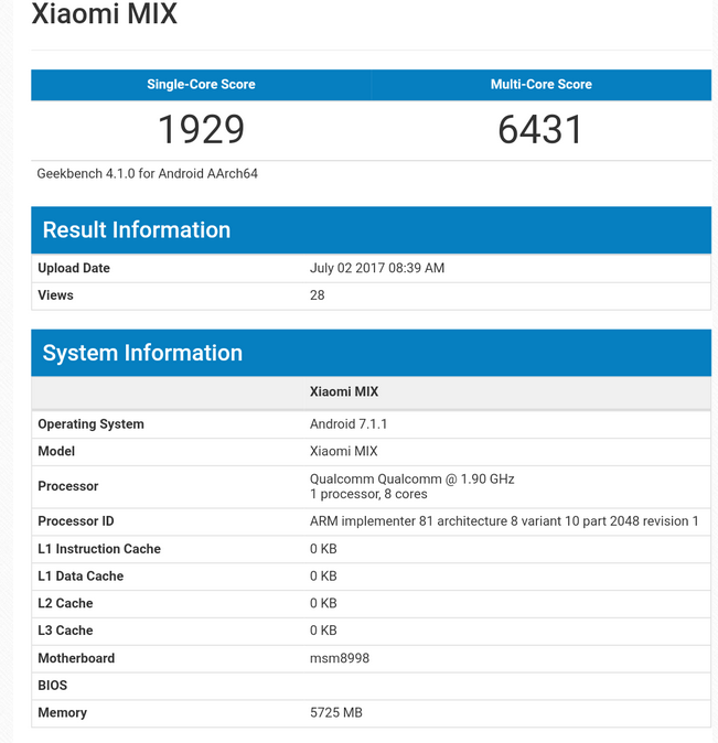 Xiaomi Mi Mix 2 Appears On Geekbench