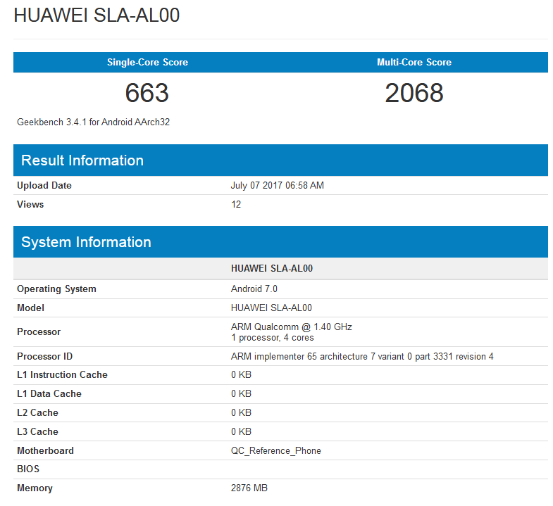 Huawei SLA-AL00 with Android Nougat spotted on GeekBench