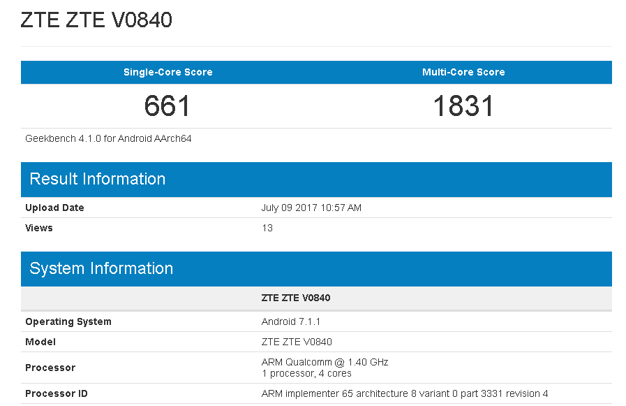 ZTE V0840 spotted on Geekbench with Snapdragon 425 SoC