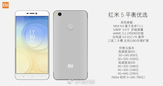 Xiaomi Redmi 5 smartphone features revealed
