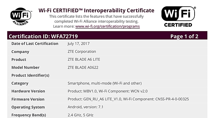 ZTE Blade A6 Lite with Android 7 1 Nougat receives Wi-Fi Certification