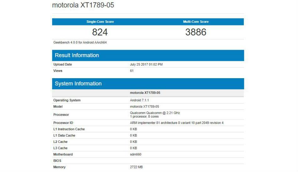 Moto X4 Geekbench