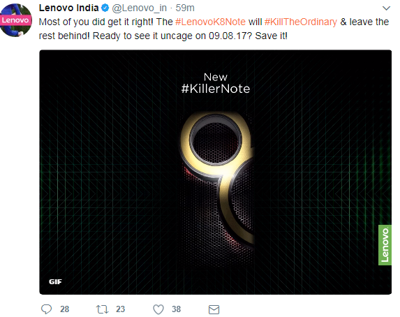 Lenovo K8 Note to launch in India on August 9