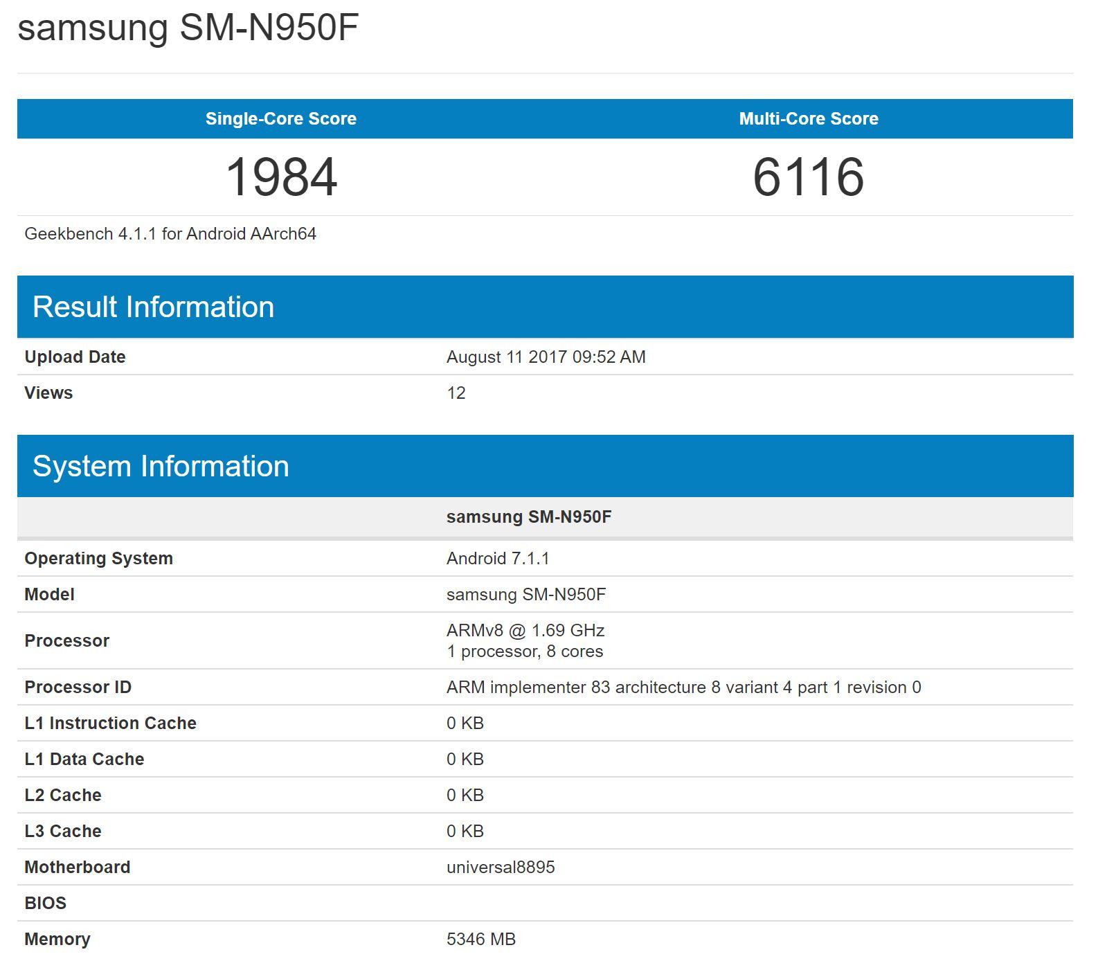 Samsung Galaxy Note 8 Geekbench listing