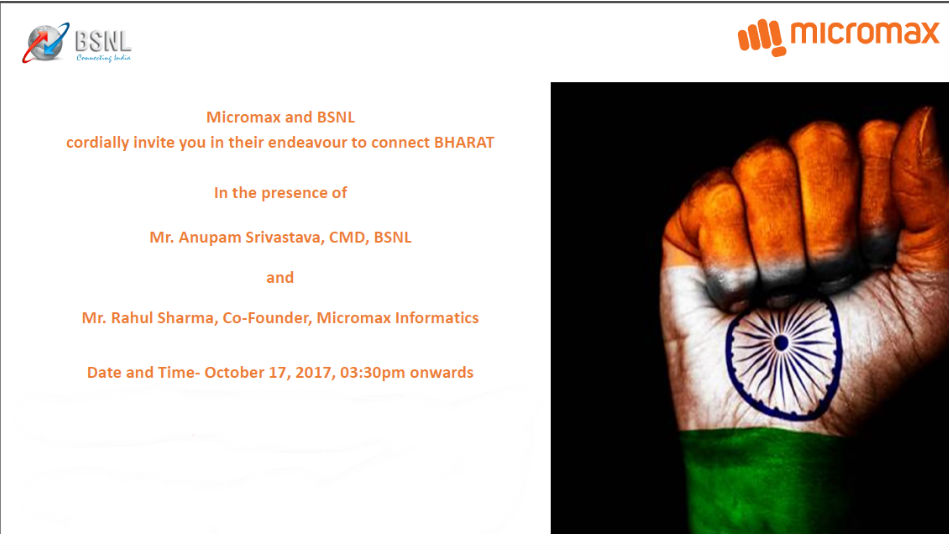 Micromax and BSNL Invite