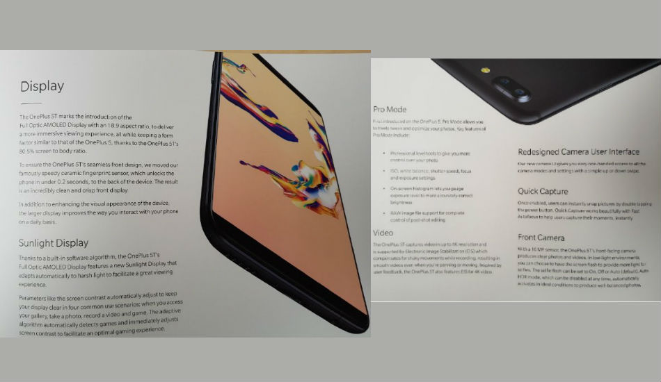 OnePlus 5T leaked brochure
