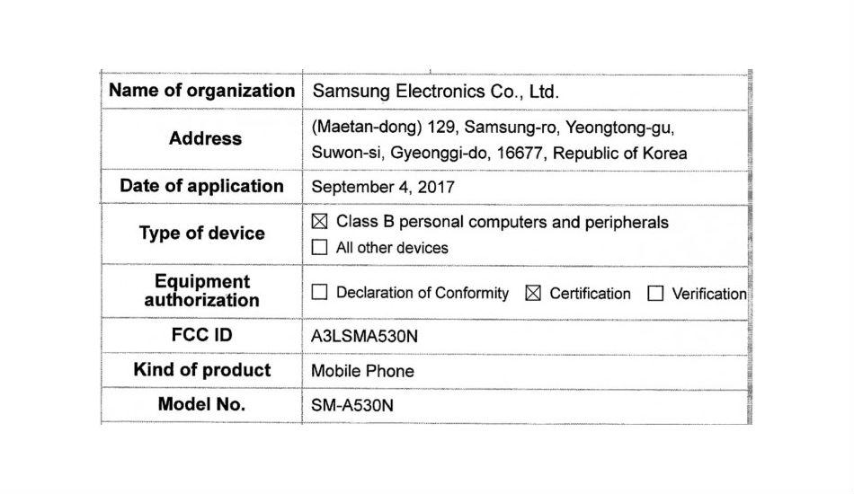 Samsung Galaxy A5 FCC