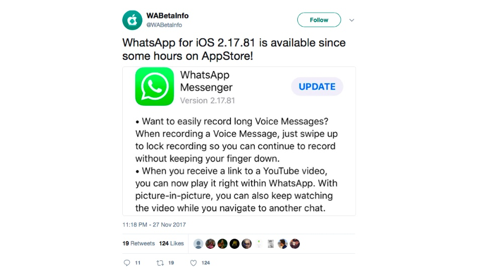 WhatsApp update allows Apple iPhone users to play YouTube videos