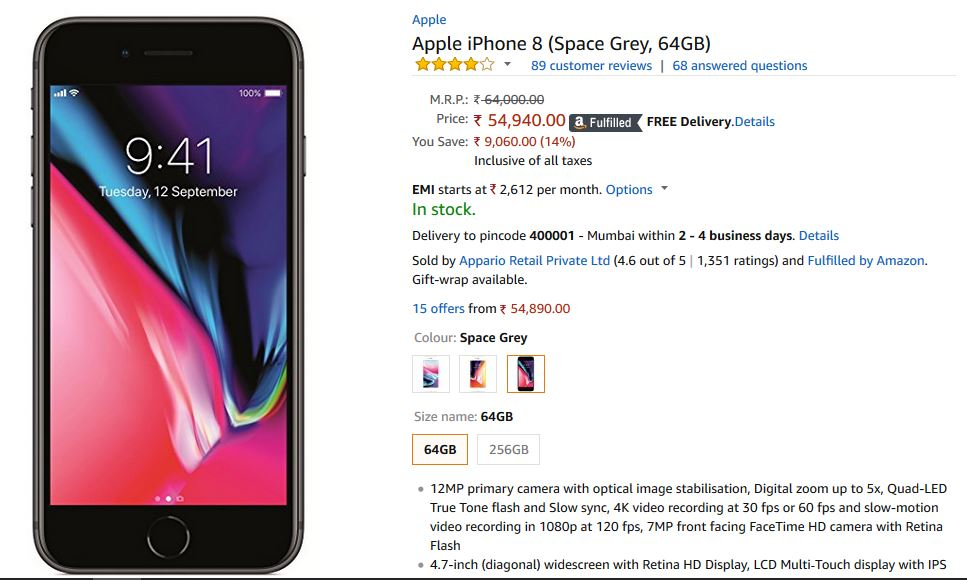 apple iphone 8 price slashed by rs 9 000 on amazon. Black Bedroom Furniture Sets. Home Design Ideas
