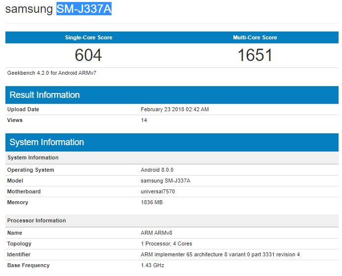 Samsung SM J337A