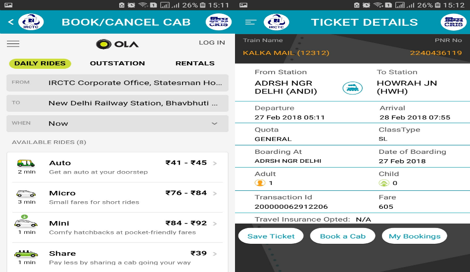 Indian Railways-Ola tie up: Now, book a cab from IRCTC app