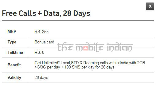 Vodafone launches Rs 255 prepaid pack with unlimited calls and 2GB