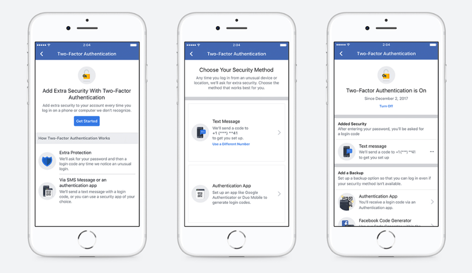 Facebook two-step authentication