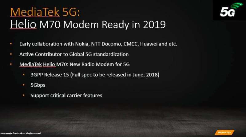 MediaTek Helio M70 5G modem