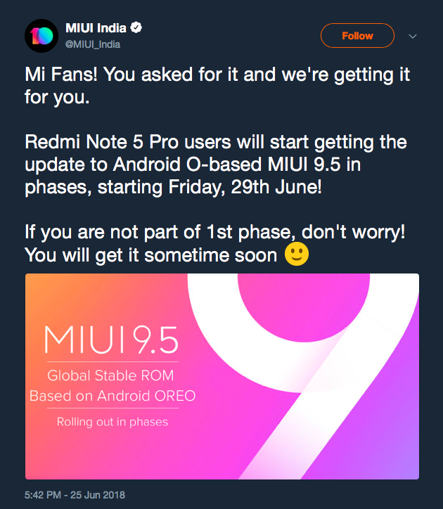 Xiaomi Redmi Note 5 Pro to get Android 8 1 Oreo starting June 29