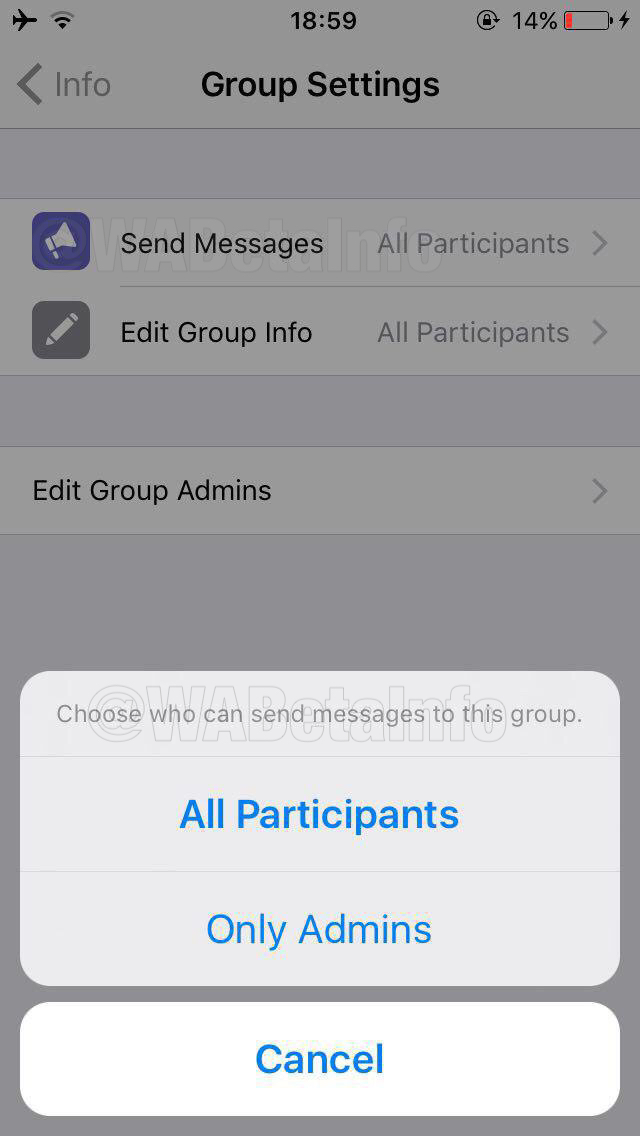 WhatsApp Admins will now restrict participants to send messages in a