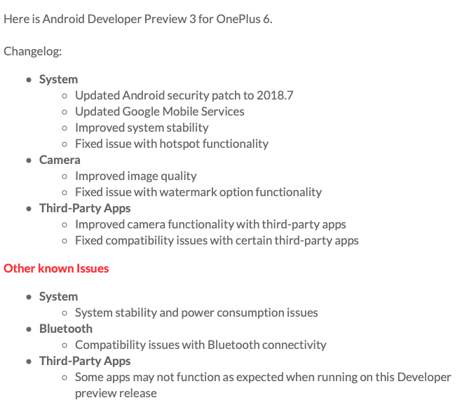 OnePlus 6 Android P Beta Developer Preview 3