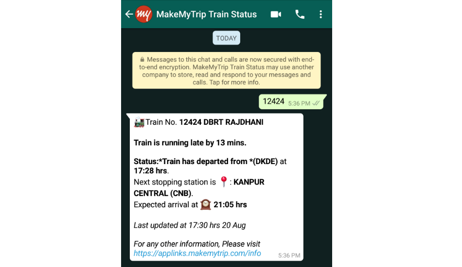 IRCTC train status through WhatsApp