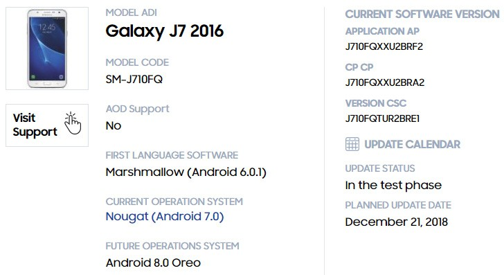 Samsung Galaxy J7(2016) update