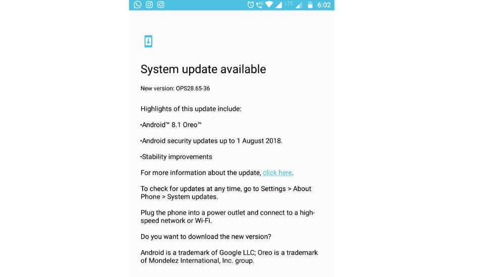 Motorola Moto G5S Plus Android 8.1 Oreo