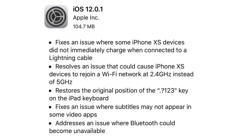 Apple iOS 12.0.1 update
