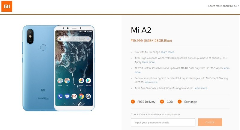 Xiaomi MI A2 6GB RAM with 128GB storage listed on official