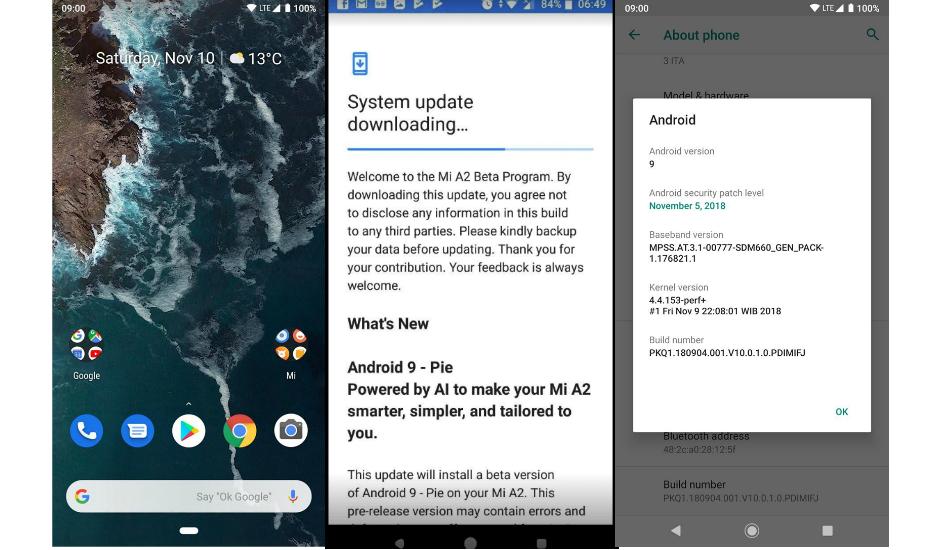 Xiaomi Mi A2 Android 9.0 Pie update