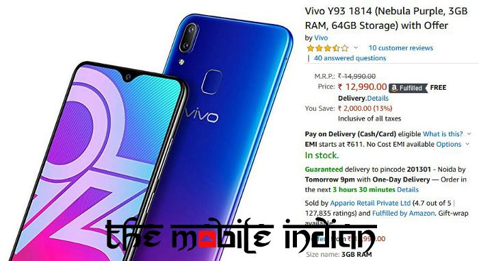 Vivo Y93 price slashed by Rs 2,000