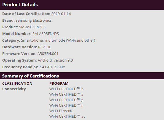 Samsung Galaxy A50 receives WiFi certification