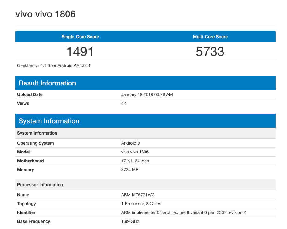 Vivo V11 Android 9 Pie Geekbench