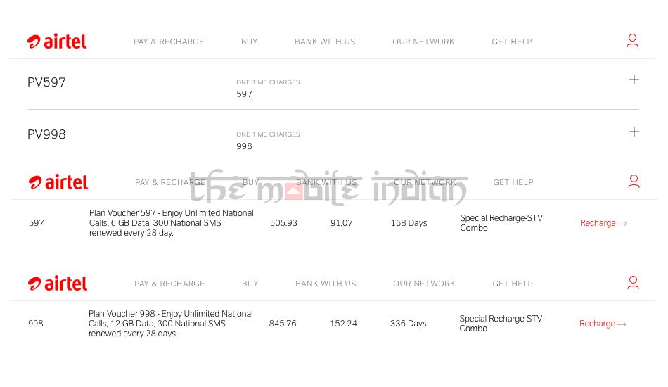 Airtel Rs 597 / Rs 998 prepaid plan
