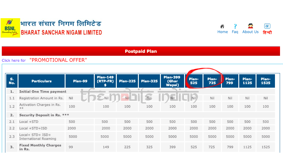 BSNL Rs 525 and Rs 725 postpaid plans