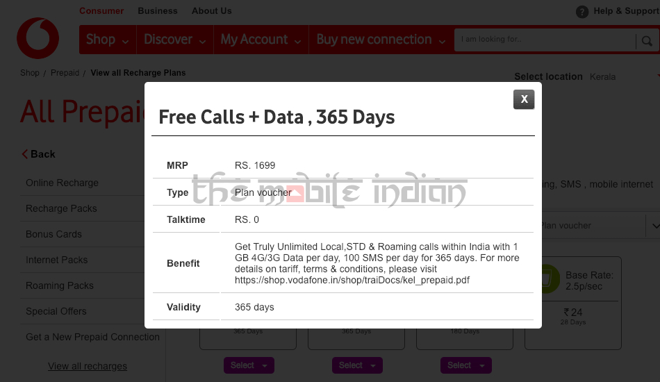 Vodafone Rs 1,699 prepaid plan voucher