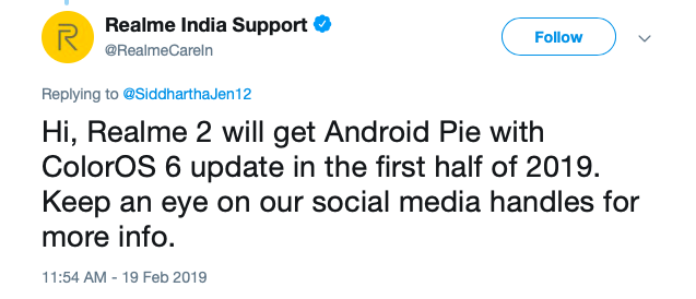 Realme Android 9 Pie update