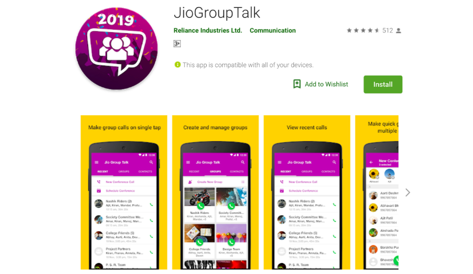 Reliance Jio JioGroupTalk app