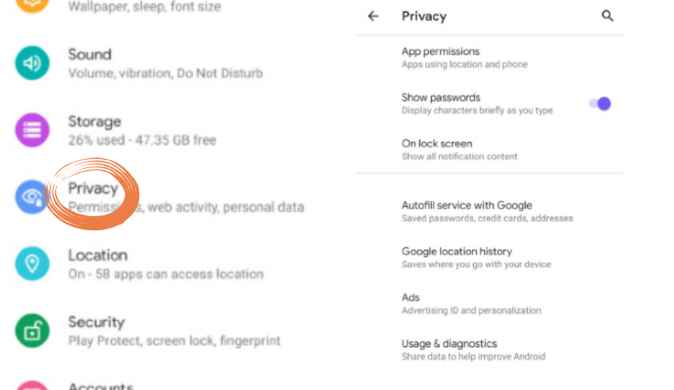 Android Q privacy section inside Settings