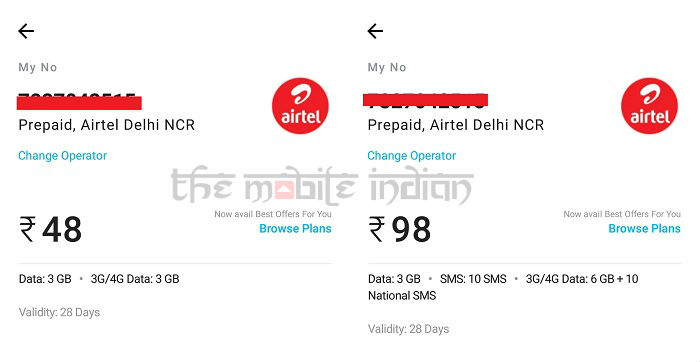 Airtel launches new Rs 48, Rs 98 prepaid data plans with 28 days