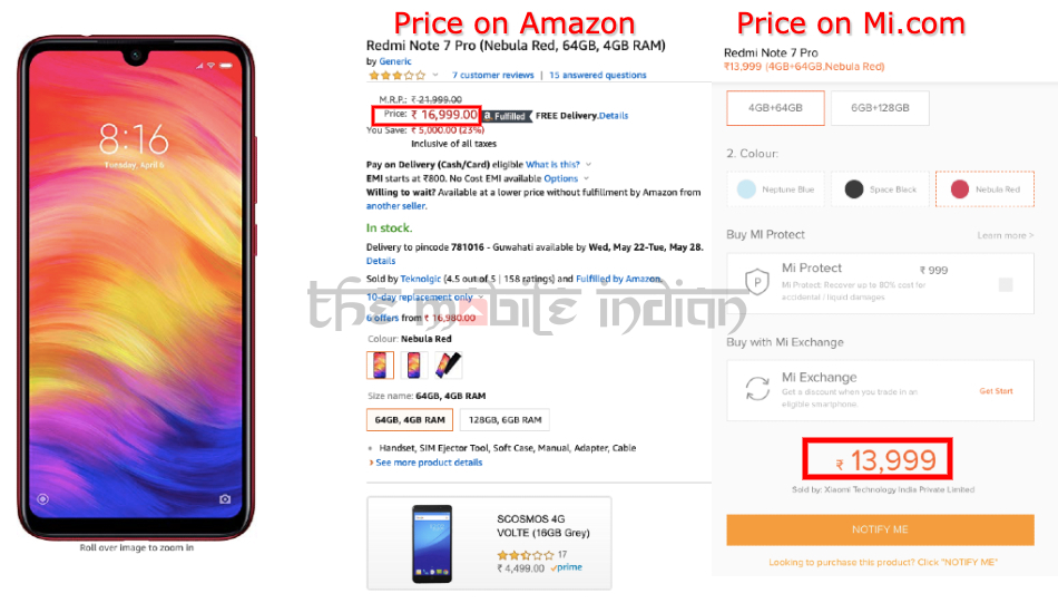 Xiaomi Redmi Note 7 Pro on Amazon India