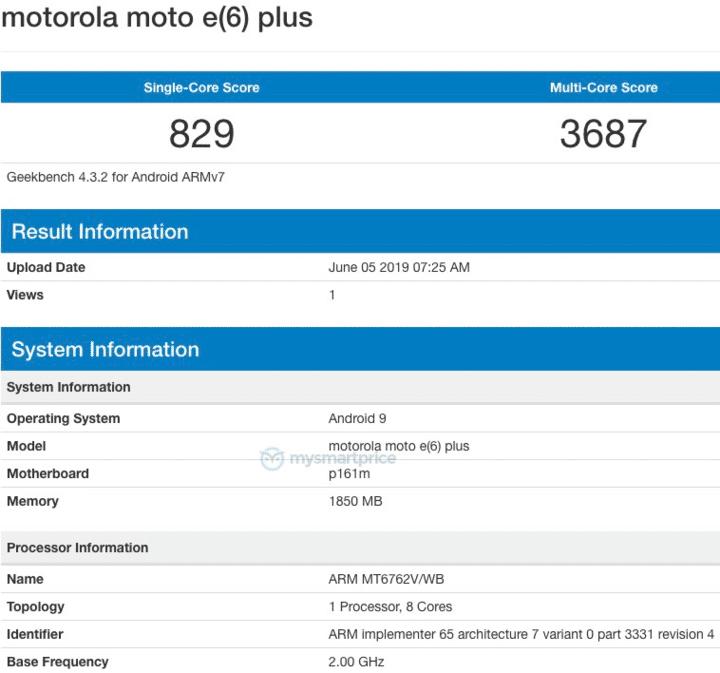 Moto E6 Plus with MediaTek Helio P22 SoC takes the Geekbench test