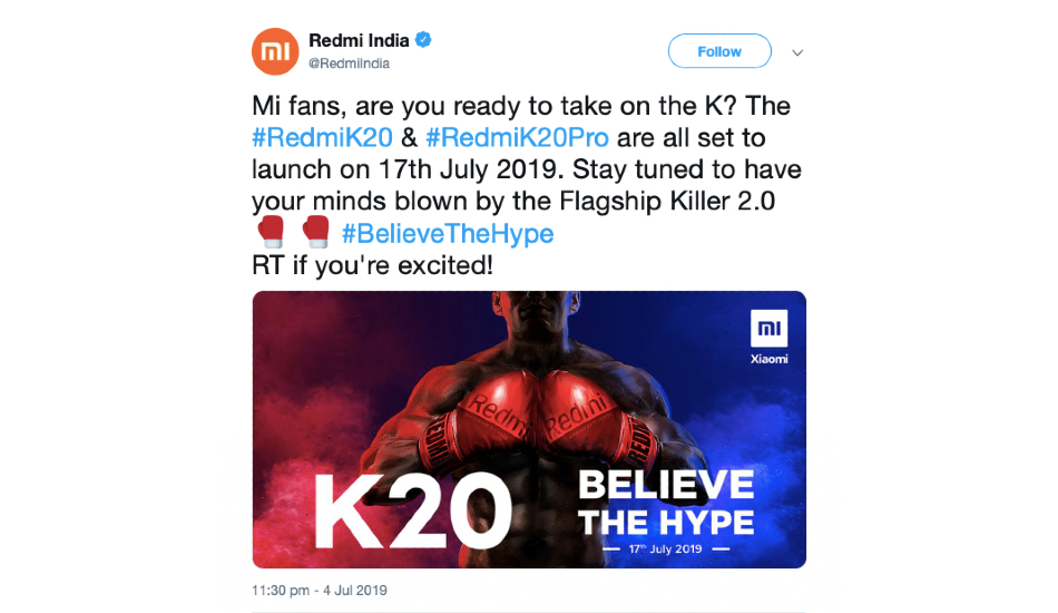Redmi K20, K20 Pro launch on July 17