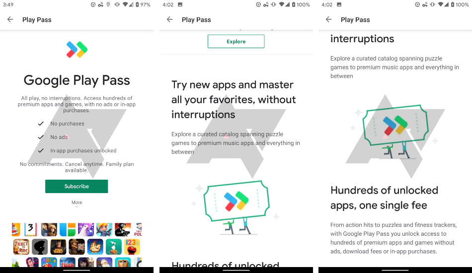 Google Play Pass subscription service